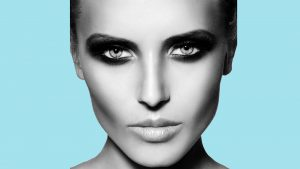 Taylor Image International Digital agency model with smoky style make-up. Blue back ground